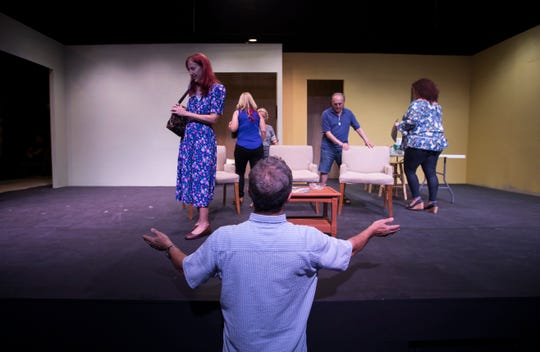 "Director James Robinson supervises a rehearsal Thursday evening of his play ""Marvin's Room"" which will open January 10, 2019 at the new Phoenix Theater in Fort Myers."
