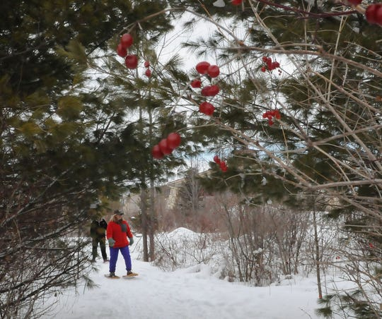 Snowshoers take to the trails at Crossroads at Big Creek in Sturgeon Bay during a past Ski for Free program.