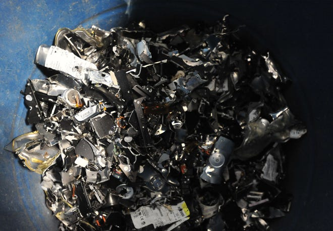 406 Recycling removes and destroys hard drives from old computer as part of their secure e-waste recycling service.