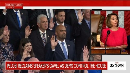 A screen grab of Guam Delegate Mike San Nicolas, along with other members of the 116th U.S. House of Representatives, taking the oath of office Thursday in Washington, D.C.