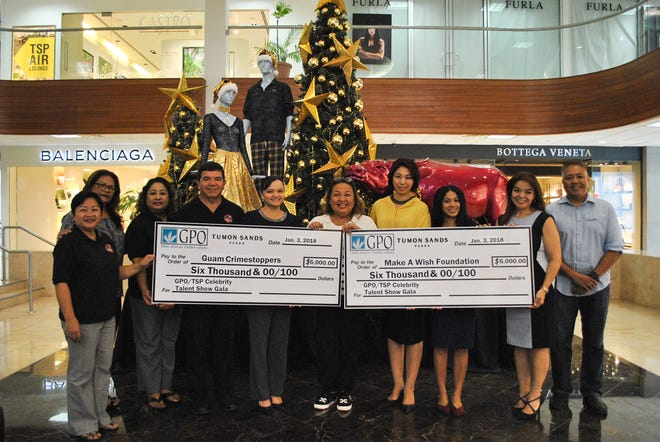 The Guam Premier Outlets and Tumon Sands Plaza recently donated a total of $12,000 to the Make A Wish Foundation and Guam Crime Stoppers. The two nonprofit organizations were beneficiaries of the GPO/TSP Celebrity Talent Show Gala held on November 2, 2018. Each organization received a check for $6,000 on January 3, 2019. The check presentation was held at the Tumon Sands Plaza lobby. Pictured from left: Divina Evaristo, Guam Crime Stoppers Board Vice Chair; Doris Quichocho, Guam Crime Stoppers Board Member; Sallie McDonald, Guam Crime Stoppers Board Secretary; James McDonald, Guam Crime Stoppers Board Chairman; Suzanne Perez, GPO director of marketing & operations; Susan Fryer, Tumon Sands Plaza Shopping Center manager; Mai Perez, Tumon Sands Plaza marketing manager; Bingle Pizarro, GPO marketing & social media coordinator; Senator Louise Muna, Make A Wish board secretary; and Eric Tydingco, Make A Wish executive director.
