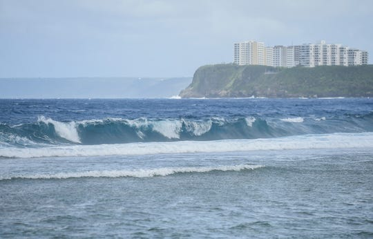 Waves break during high surf conditions at Hagåtña Bay, Jan. 4, 2019.