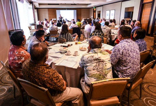"""Cabinet members, their deputies and senior staff members of the incoming Leon Guerrero-Tenorio administration listen to moderator Ron McNinch as he speaks during an """"on-boarding"""" leadership development seminar at the Westin Resort Guam in Tumon on Jan. 4, 2019. Topics slated to be discussed at the four-hour training were to include ethics, budgeting, procurement, personnel actions, rules and discipline, cyber security and sexual harassment."""