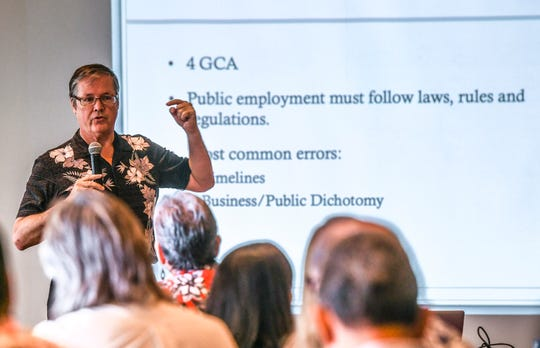 "Moderator Ron McNinch speaks to cabinet members, their deputies and senior staff members, of the incoming Leon Guerrero-Tenorio administration, during an ""on-boarding"" leadership development seminar at the Westin Resort Guam in Tumon on Jan. 4, 2019. Topics slated to be discussed at the four-hour training were to include ethics, budgeting, procurement, personnel actions, rules and discipline, cyber security and sexual harassment."