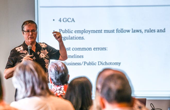"Moderator Ron McNinch speaks to cabinet members, their deputies and senior staff members of the Leon Guerrero-Tenorio administration during an ""on-boarding"" leadership development seminar at the Westin Resort Guam in this Jan. 4 file photo."