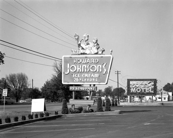 The sign for the Howard Johnson restaurant on the U.S. 41-North strip in the 1950s. An open house for the restaurant, as well as for the nearby Kentucky Terrace Motel, was held Dec. 8, 1955.  The Howard Johnson building was most recently a Mexican restaurant and is about to be torn down to make way for a Dollar Tree.