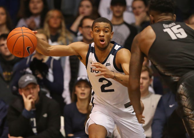 Butler guard Aaron Thompson (2) carries the ball down court against the Georgetown Hoyas during the second half of game action between Butler University and Georgetown University, at Hinkle Fieldhouse in Indianapolis, Indiana on Wednesday, Jan. 2, 2019.
