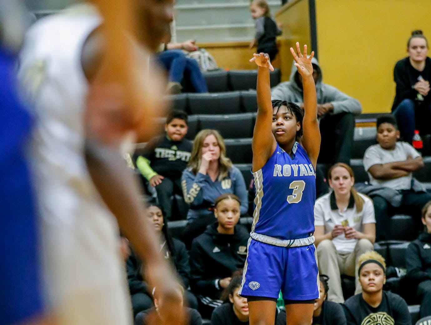 Hamilton South Eastern's Malea Jackson (3), shoots for a three pointer during a game between Hamilton Southeastern High School and Warren Central High School, held at Warren on Thursday, Jan. 3, 2019.