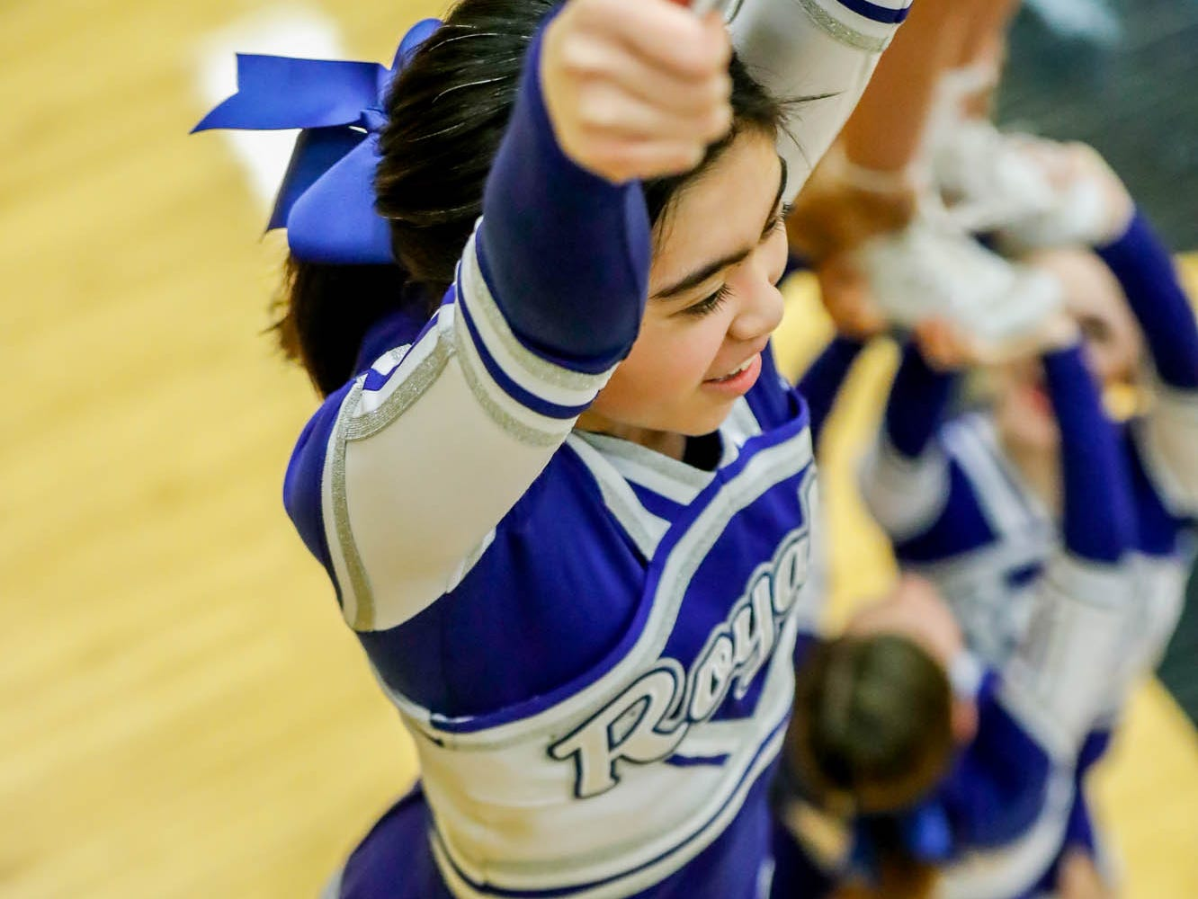 Hamilton South Eastern Cheerleaders create a pyramid during a game between Hamilton Southeastern High School and Warren Central High School, held at Warren on Thursday, Jan. 3, 2019.