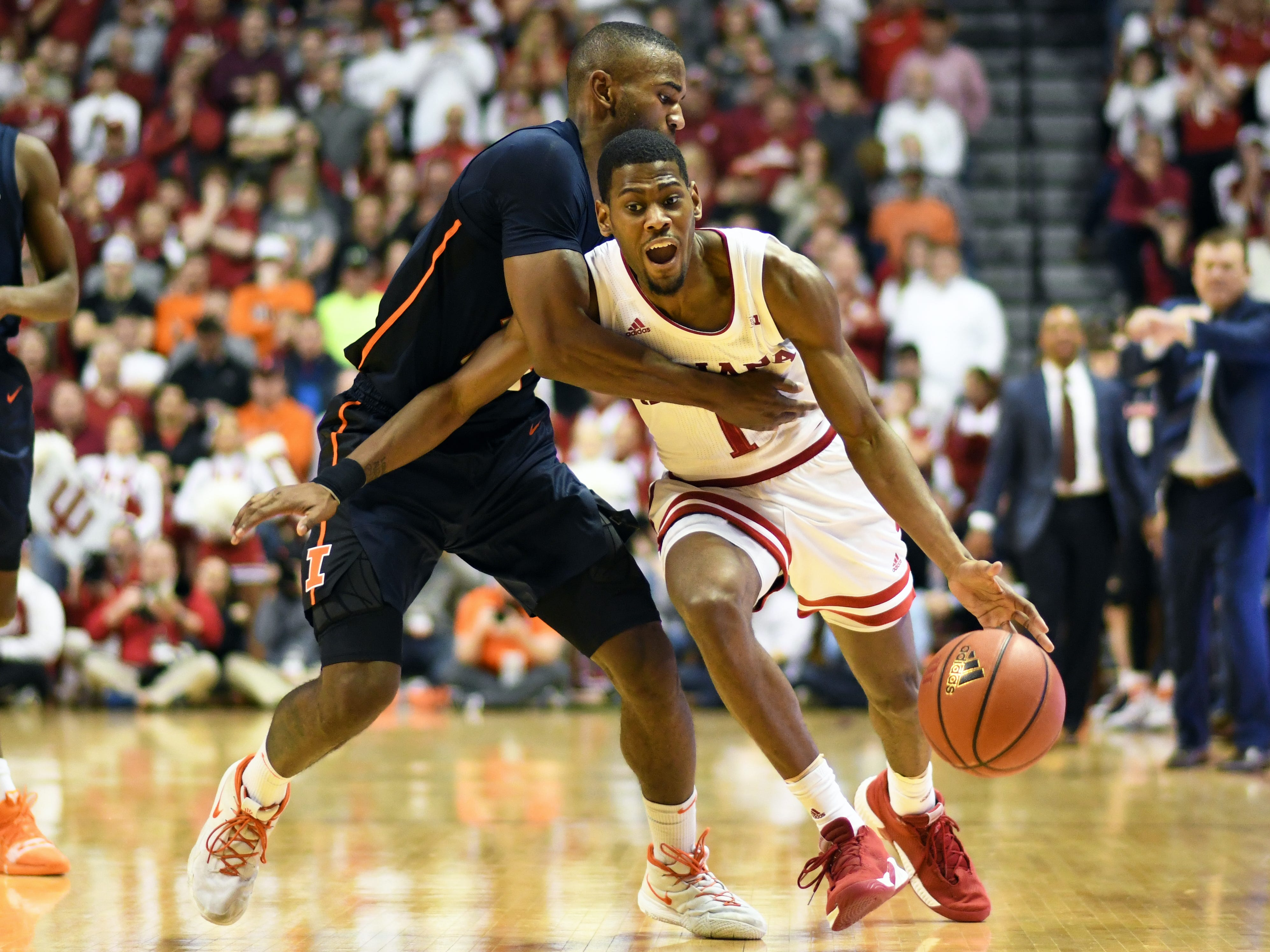 Indiana Hoosiers guard Al Durham (1) is fouled during the game against Illinois at Simon Skjodt Assembly Hall in Bloomington, Ind., on Thursday, Jan. 3, 2019.