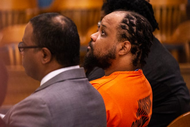 Curtis Cortez Jones is seen during a sentencing hearing for the murder of Ricky Ray Lillie on Friday, Jan. 4, 2019, at the Johnson County Courthouse, in Iowa City, Iowa.