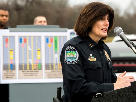 Knoxville Police Chief Eve Thomas speaks at a press conference at Central High School on Friday, January 4, 2019. Local law enforcement will be cracking down on motorists who fail to stop for school buses.