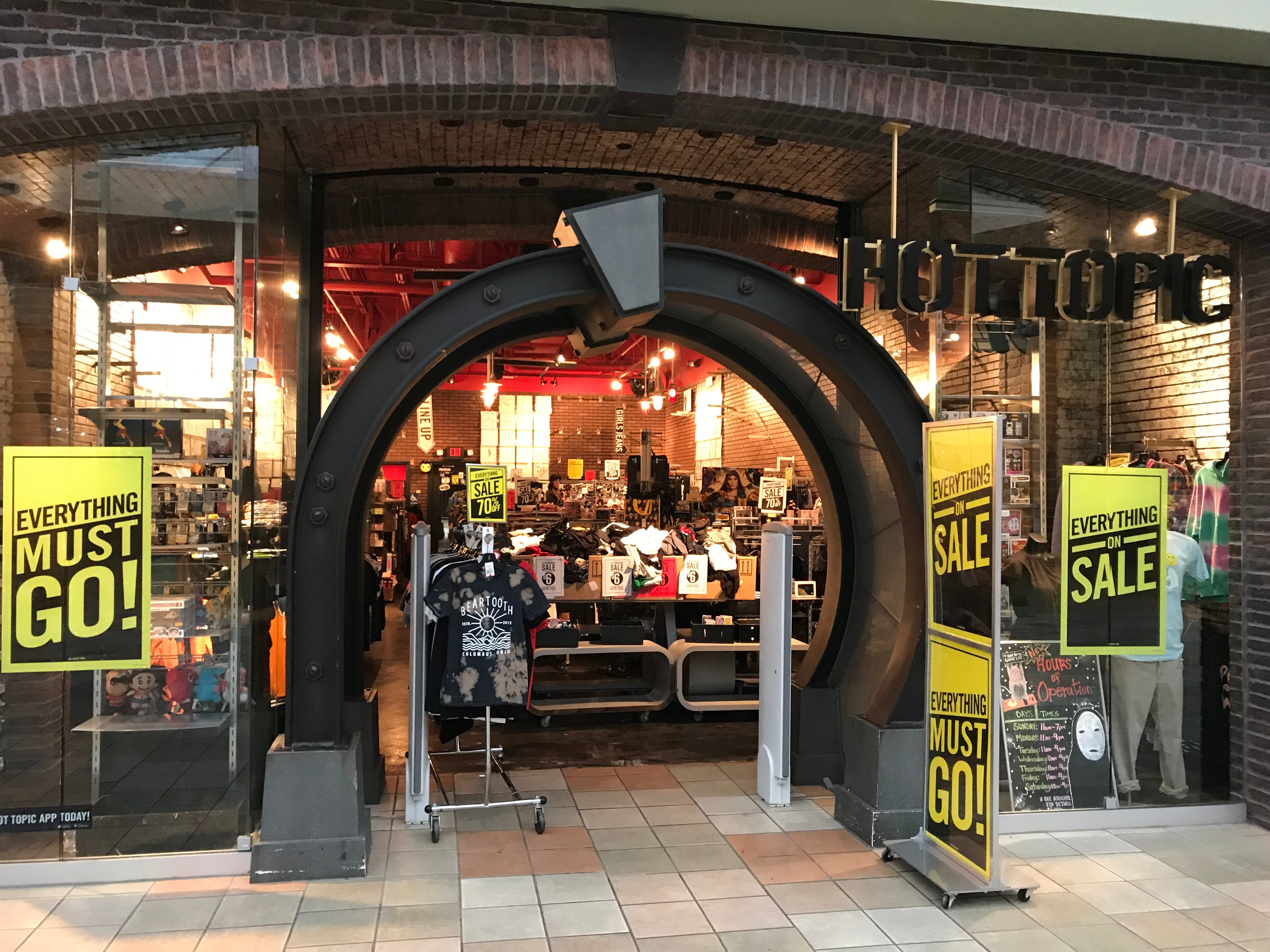 The Hot Topic at Knoxville Center Mall is closing.