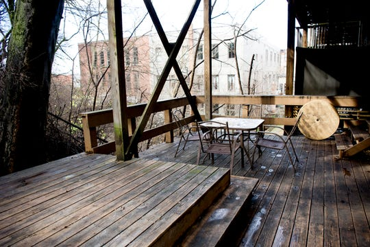 A backyard porch area will be utilized for small private events at the future Jacks of Knoxville shop at 133c South Gay Street in Knoxville, Tennessee on Friday, January 4, 2019. The shop, which is planned to open in February, will have a strong focus on selling arts and crafts made by local makers.