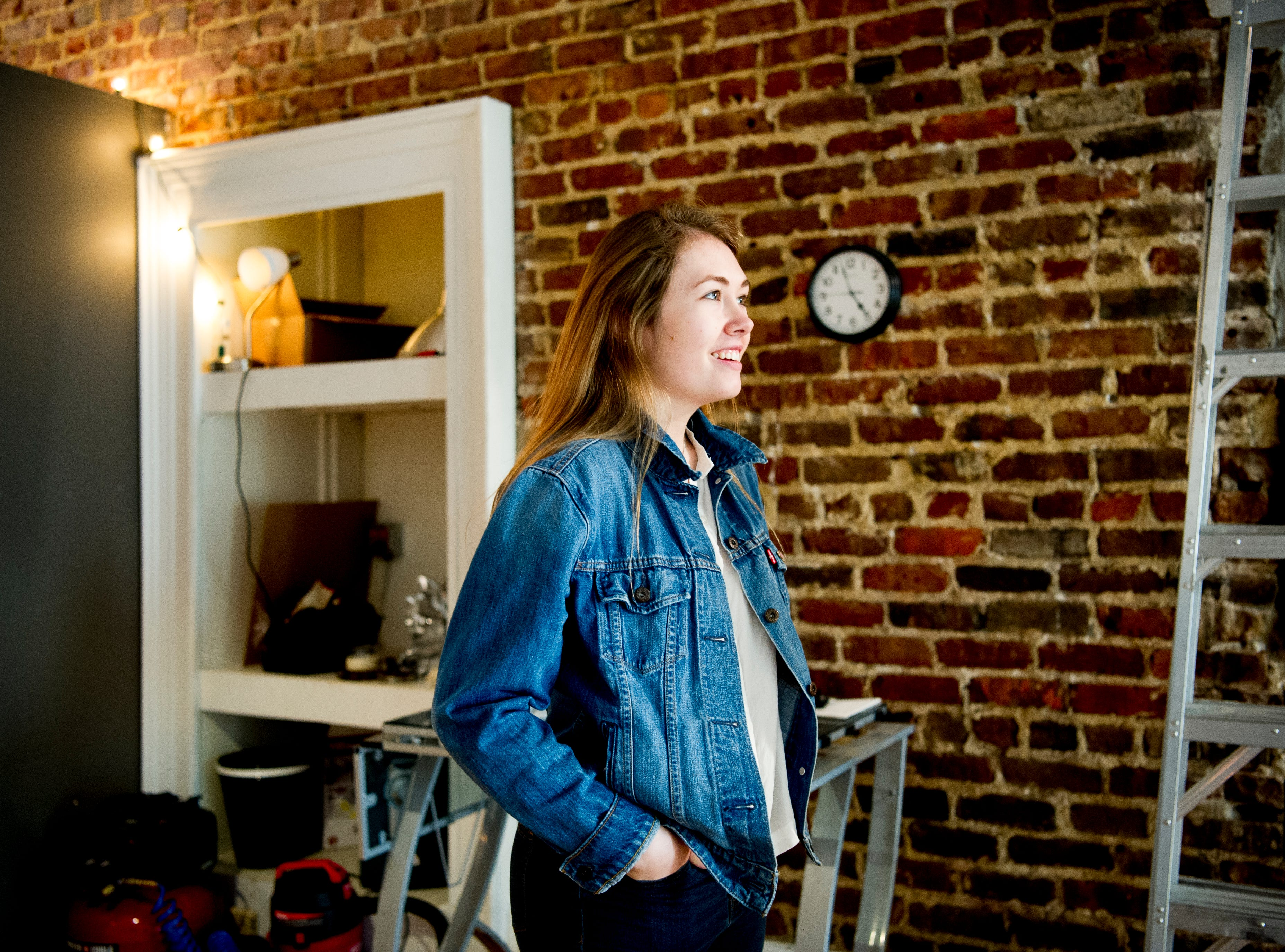 Katherine Higgins gives a tour of the future Jacks of Knoxville shop at 133c South Gay Street in Knoxville, Tennessee on Friday, January 4, 2019. The shop, which is planned to open in February, will have a strong focus on selling arts and crafts made by local makers.