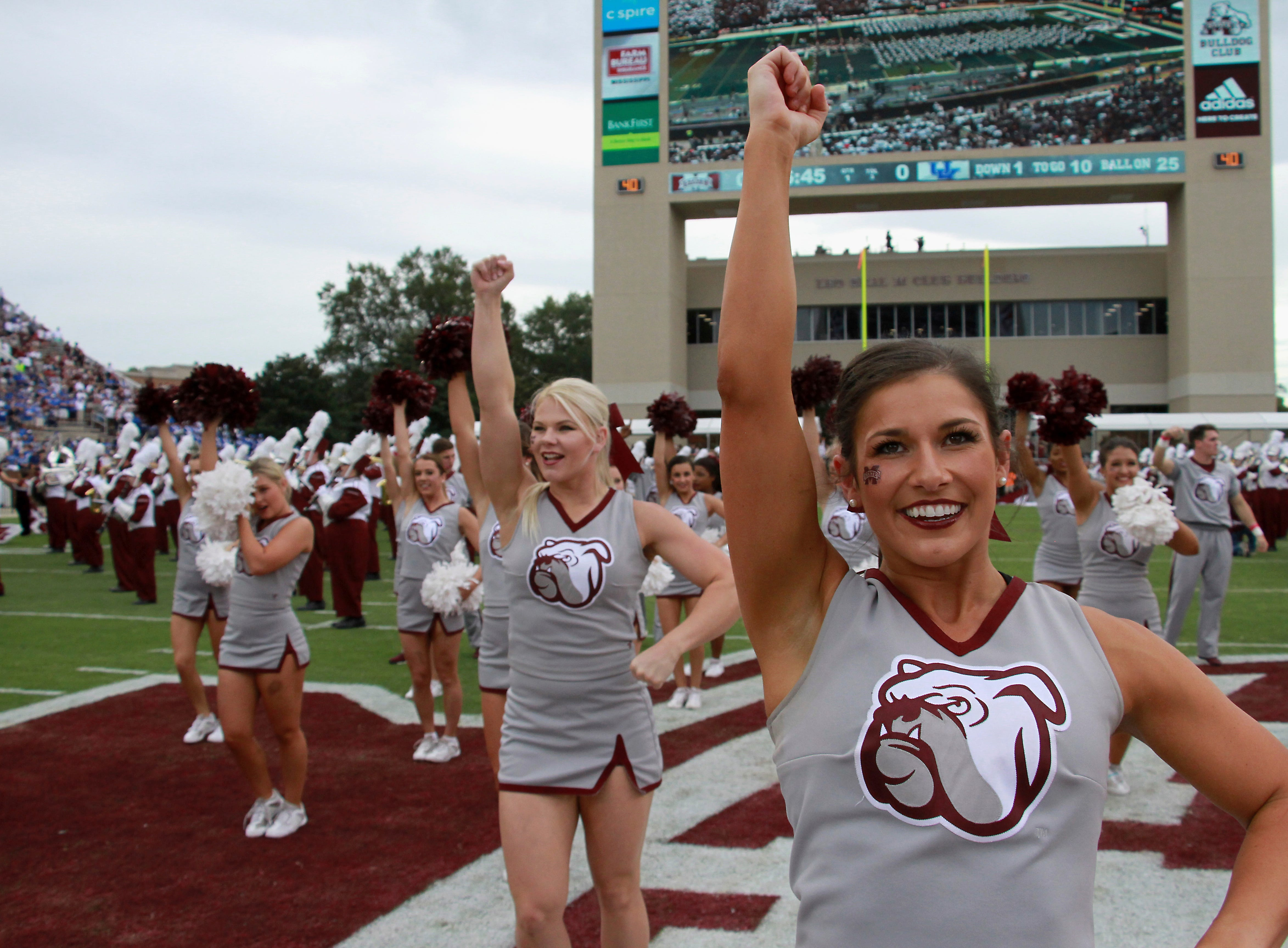 The Mississippi State cheerleaders perform during pregame activities before their NCAA college football game against Kentucky in Starkville, Miss., Saturday, Oct. 21, 2017. (AP Photo/Jim Lytle)
