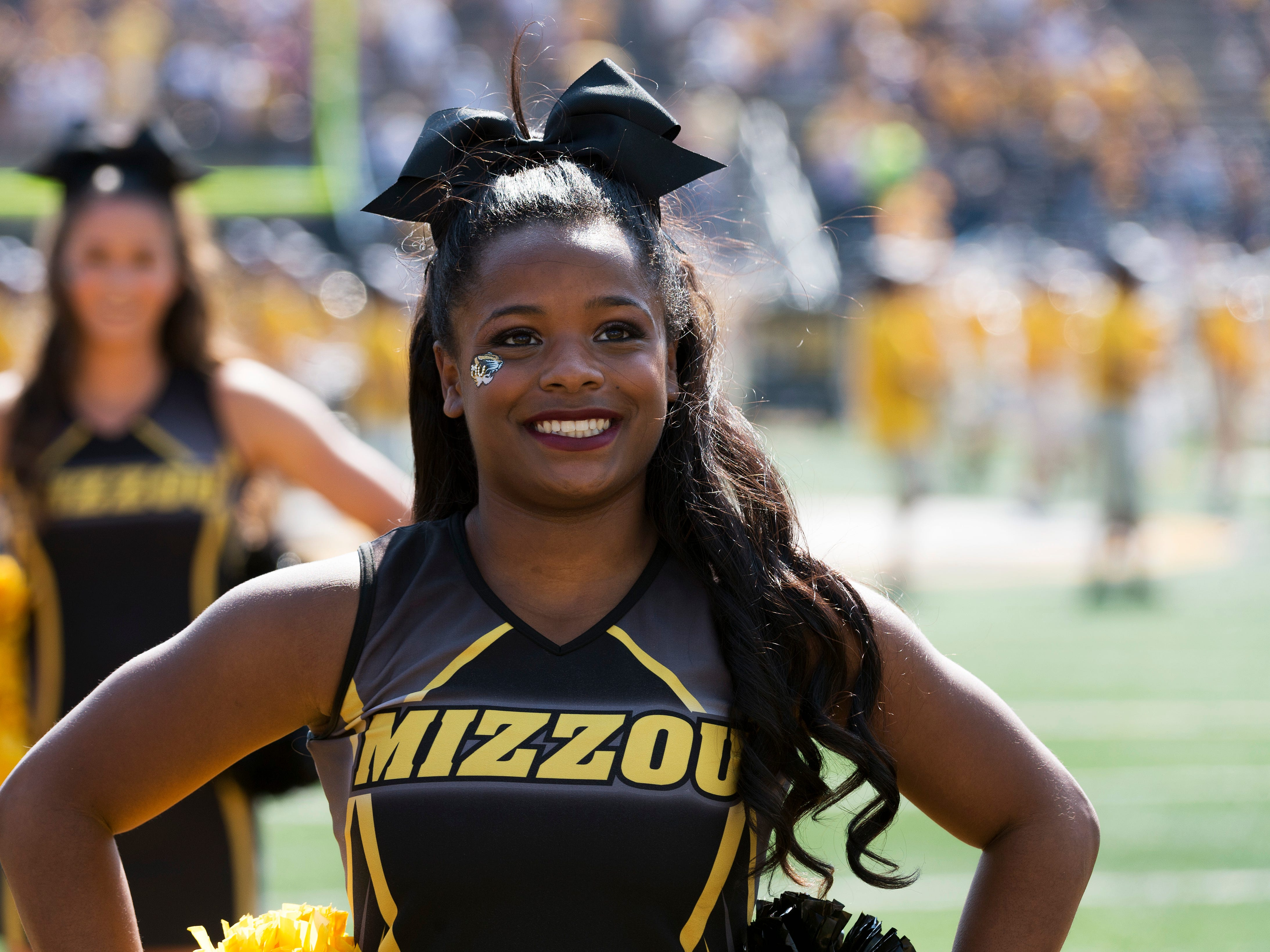 The Missouri cheerleaders perform during the first half of an NCAA college football game against Purdue Saturday, Sept. 16, 2017, in Columbia, Mo. (AP Photo/L.G. Patterson)