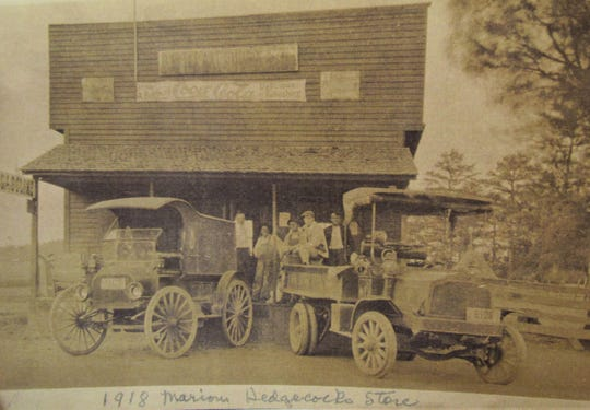 Sherrod's grandfather, Marion Hedgecock, operated this general store in the early 1900's. Automobiles were quickly replacing horses as transportation.