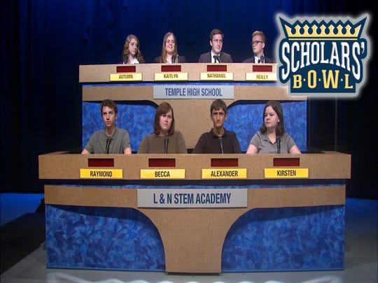 L & N STEM Academy vies with Temple High School in a first-round matchup. Shown bottom, l-r are Raymond Wysmierski, Becca Hughes, Team Captain Alexander Yarkhan and Kirsten Carter. Coach is Alex Mangone. Shown top, l-r are Autumn Mason, Kaitlyn Kiser, Team Captain Nathaniel Sheets and Reilly Holloman. Coach is Jeff Jones. November, 2018.