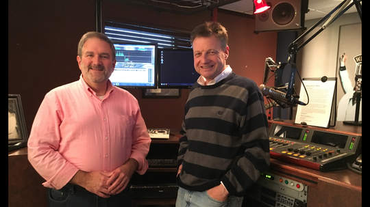 Frank Murphy and Ernie Roberts, shown here at WNOX studios, are excited about this year's ETPBS Scholars' Bowl, the largest ever. Jan. 2, 2019.