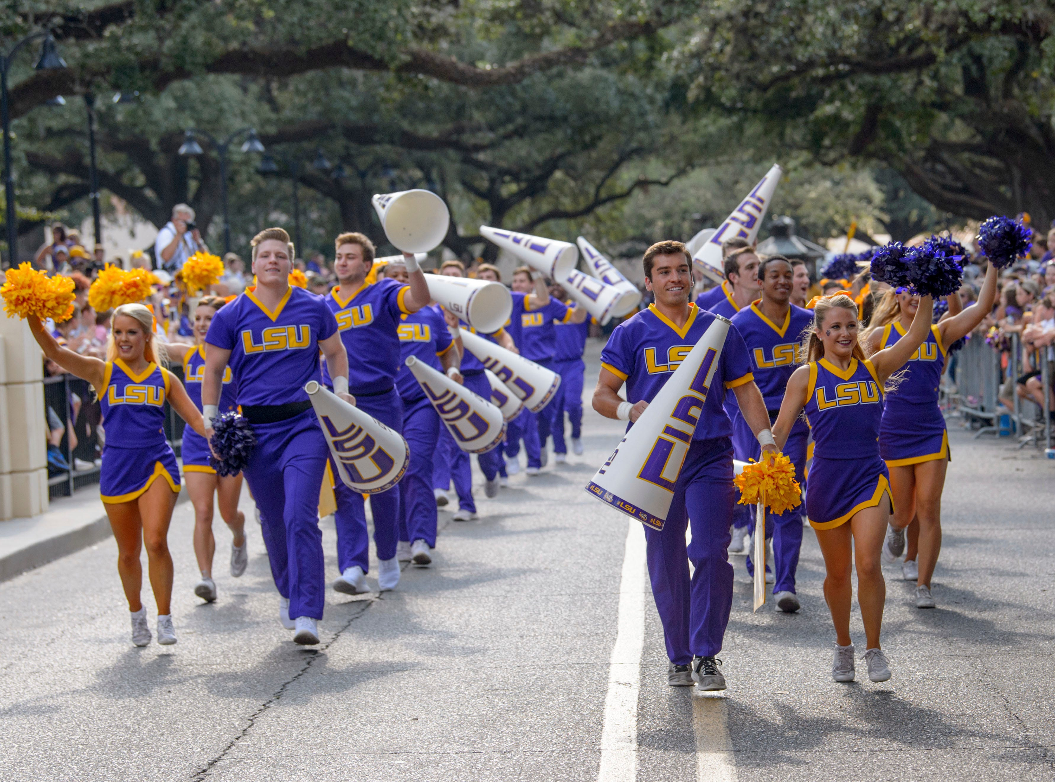 LSU cheerleaders perform before an NCAA college football game against Troy in Baton Rouge, La., Saturday, Sept. 30, 2017. (AP Photo/Matthew Hinton)