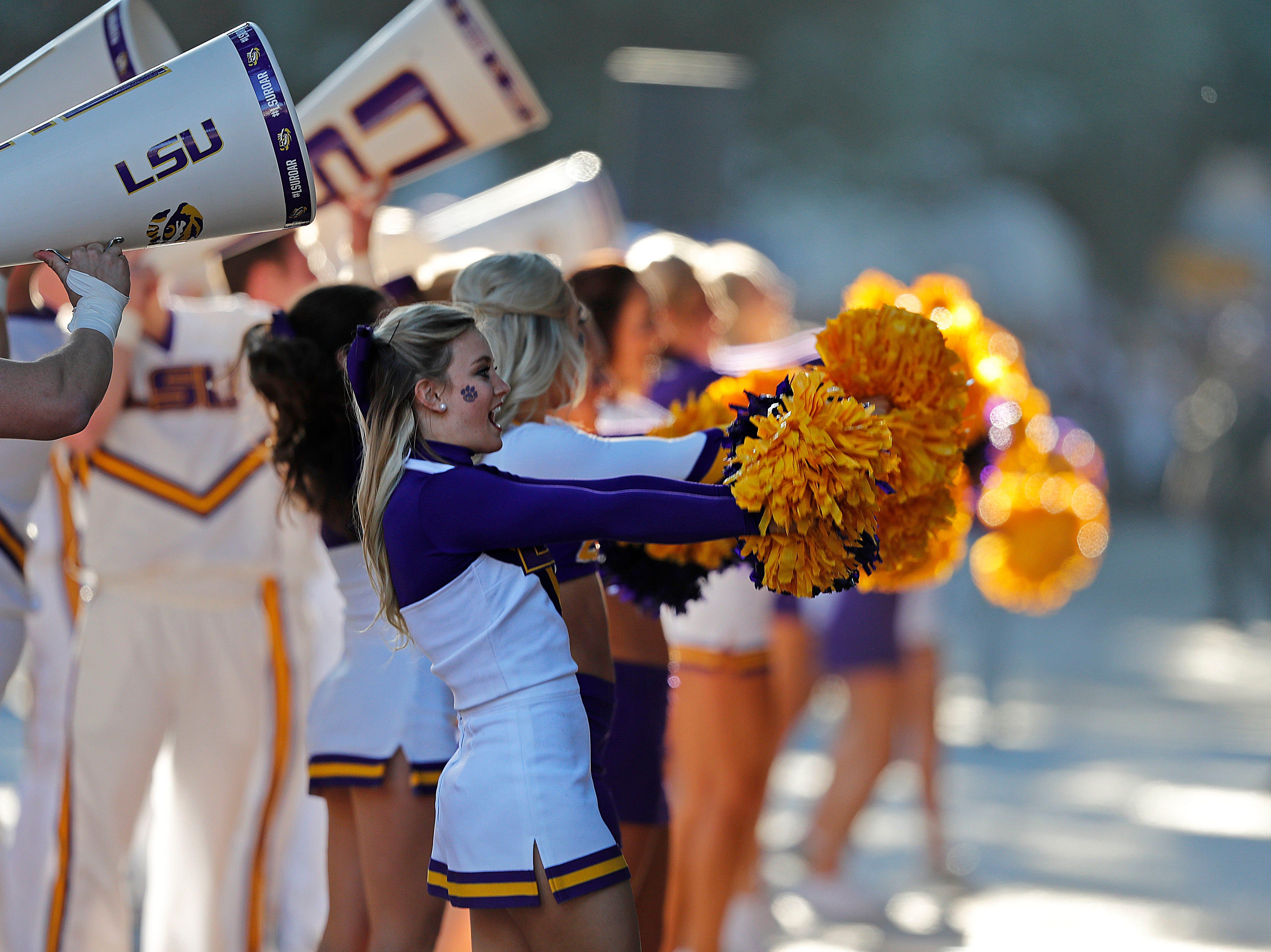 LSU cheerleaders fire up the crowd before an NCAA college football game against Alabama in Baton Rouge, La., Saturday, Nov. 3, 2018. (AP Photo/Gerald Herbert)
