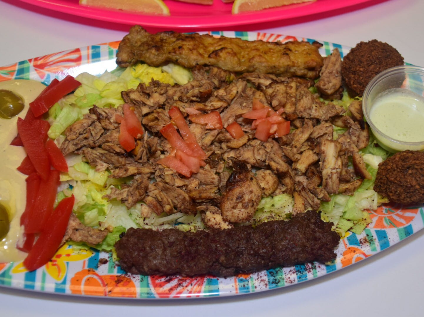 A mixed plate feeds four people for $19.99 and features everything on the menu from humus to kabobs to Shawarma to grape leaves.