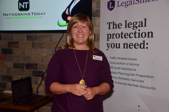 Lauren Blankenship, regional manager for LegalShield, gives a 20-minute spotlight on the benefits of LegalShield services during a Networking Today International meeting at Corner 16 Friday, Jan. 4.
