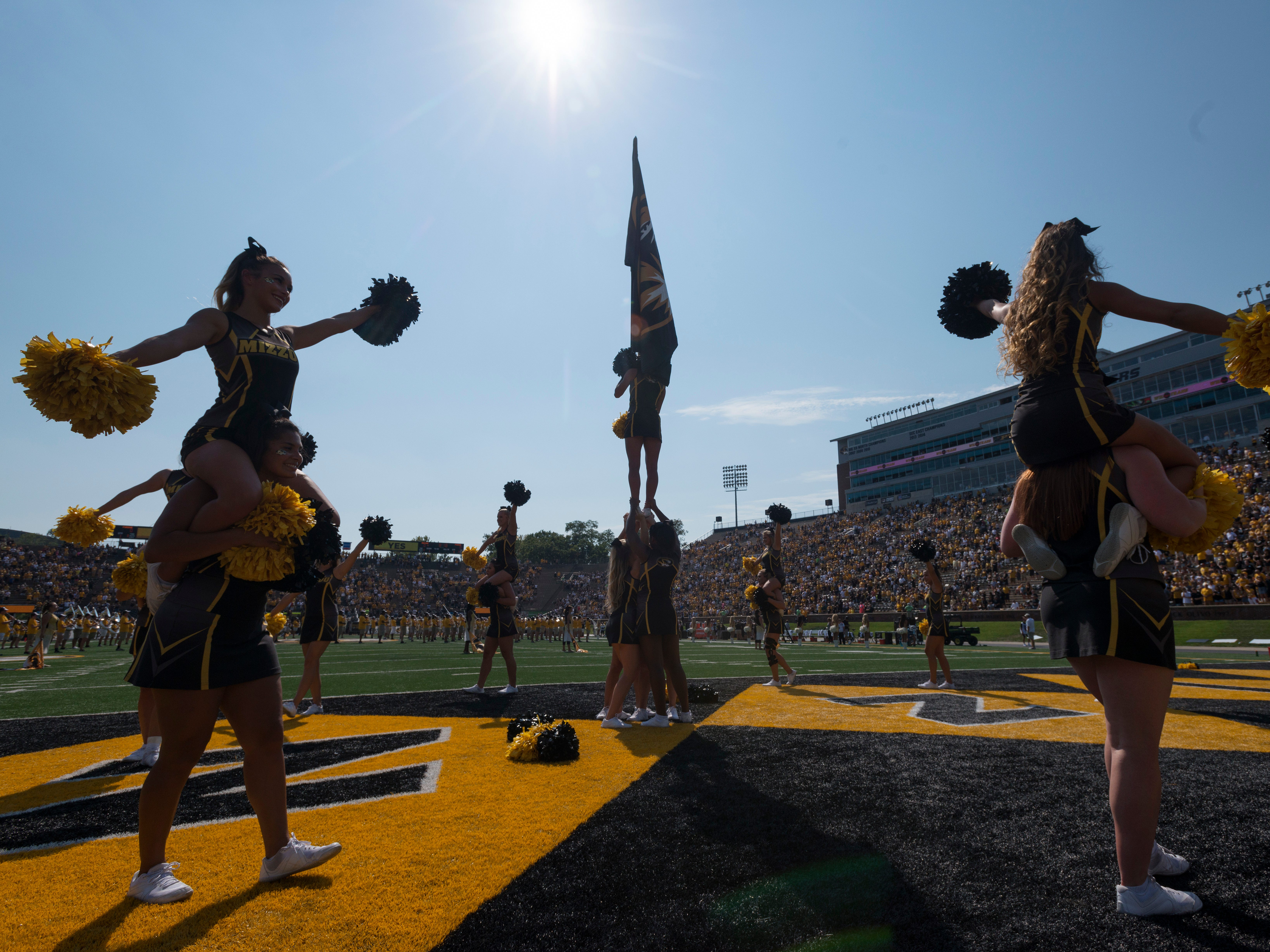 The Missouri cheerleaders perform before the start of an NCAA college football game against Purdue Saturday, Sept. 16, 2017, in Columbia, Mo. (AP Photo/L.G. Patterson)