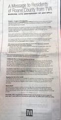 The TVA used ratepayer money to buy a full-page ad last month in the Roane County News touting the work of Jacobs Engineering and other contractors.