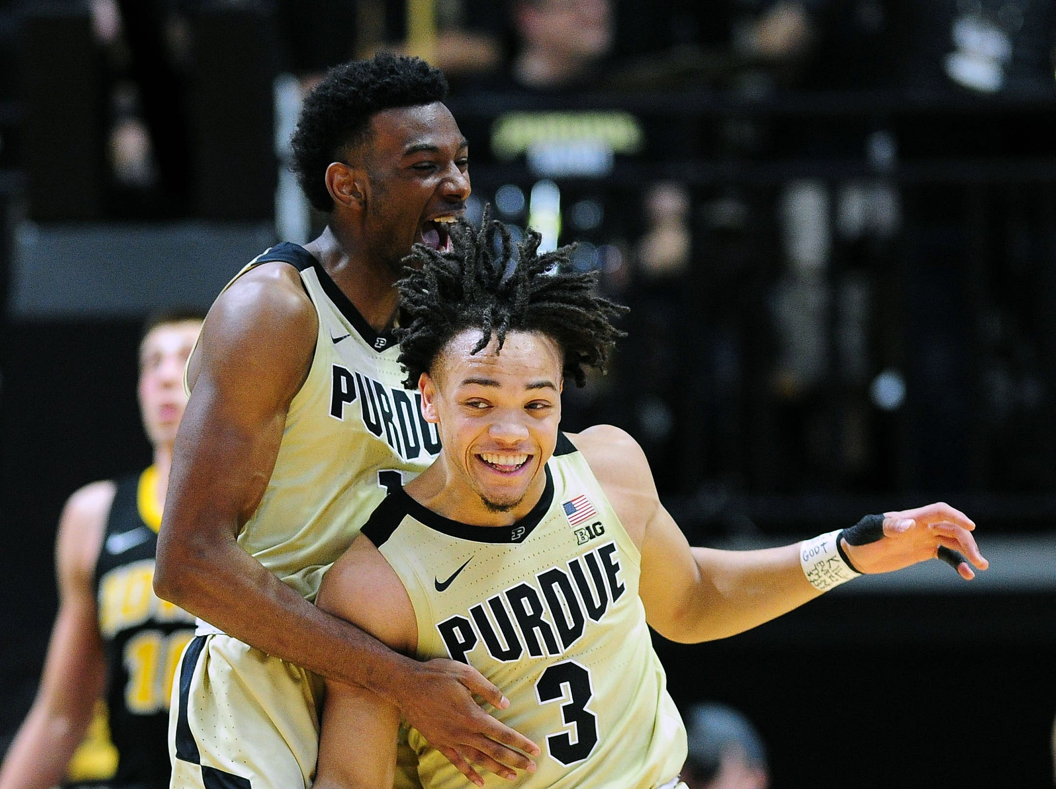 Jan 3, 2019; West Lafayette, IN, USA; Purdue Boilermakers guard Carsen Edwards (3) celebrates along with Purdue Boilermakers forward Aaron Wheeler (1) against the Iowa Hawkeyes in the second half at Mackey Arena. Mandatory Credit: Thomas J. Russo-USA TODAY Sports