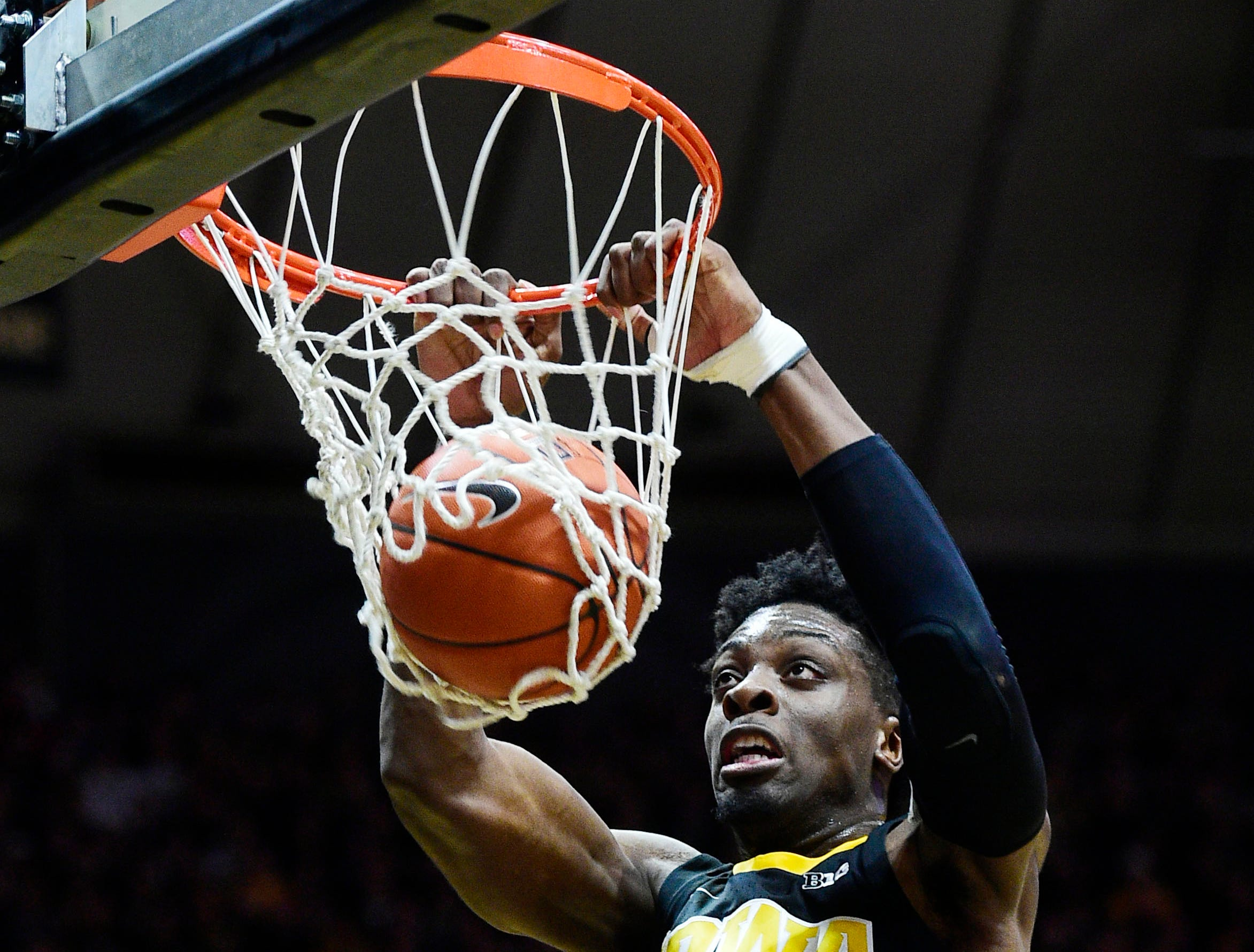 Jan 3, 2019; West Lafayette, IN, USA;  Iowa Hawkeyes forward Tyler Cook  (25) slam dunks in the first half against the Purdue Boilermakers at Mackey Arena. Mandatory Credit: Thomas J. Russo-USA TODAY Sports