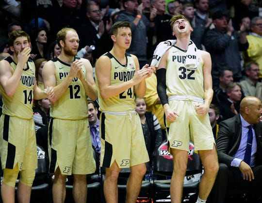 Jan 3, 2019; West Lafayette, IN, USA; Purdue Boilermakers  center Matt Haams (32) far right, reacts on the bench during their game  against Iowa Hawkeyes in the second half at Mackey Arena.Thomas J. Russo-USA TODAY Sports