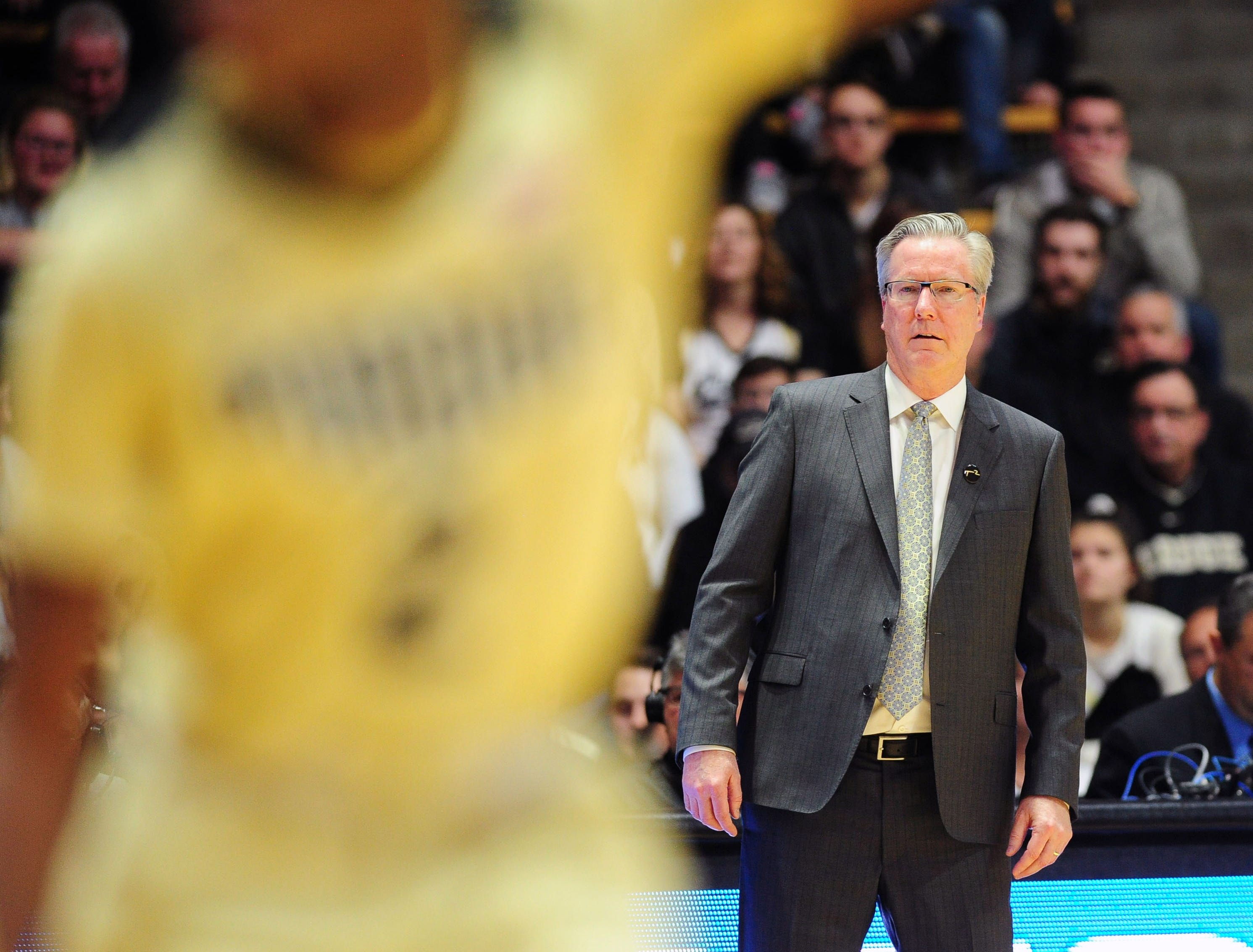 Jan 3, 2019; West Lafayette, IN, USA; Iowa Hawkeyes head coach Fran McCaffrey watches the action in the second half against the Purdue Boilermakers at Mackey Arena. Mandatory Credit: Thomas J. Russo-USA TODAY Sports