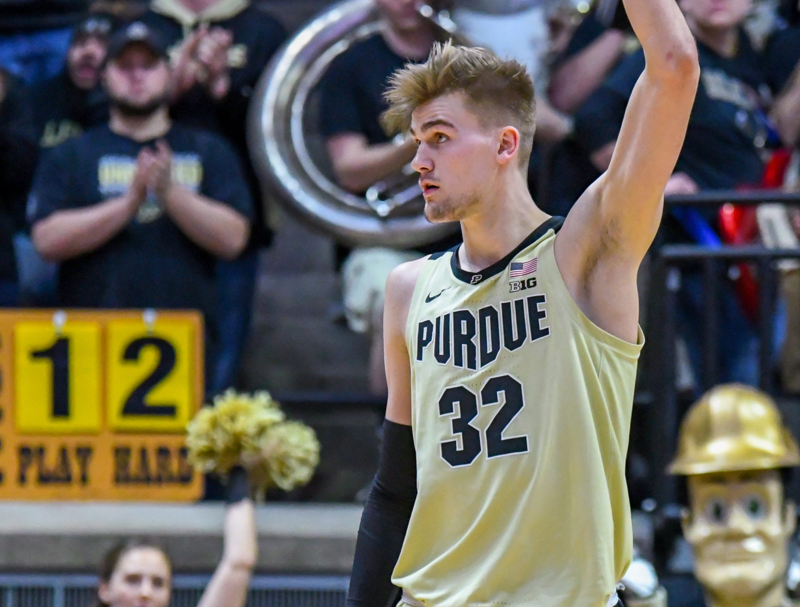 Purdue's Matt Haarms reacts as time runs out against Iowa in West Lafayette on Thursday January 3, 2019. Purdue defeated the Hawkeyes 86-70.