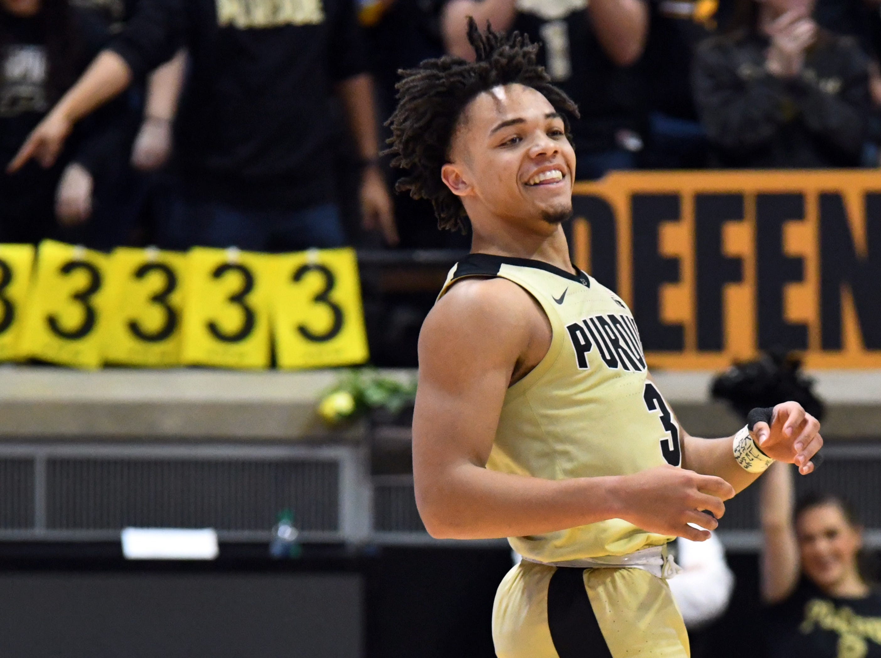 Action from Purdue's win against Iowa in West Lafayette on Thursday January 3, 2019. Purdue defeated the Hawkeyes 86-70. Carsen Edwards