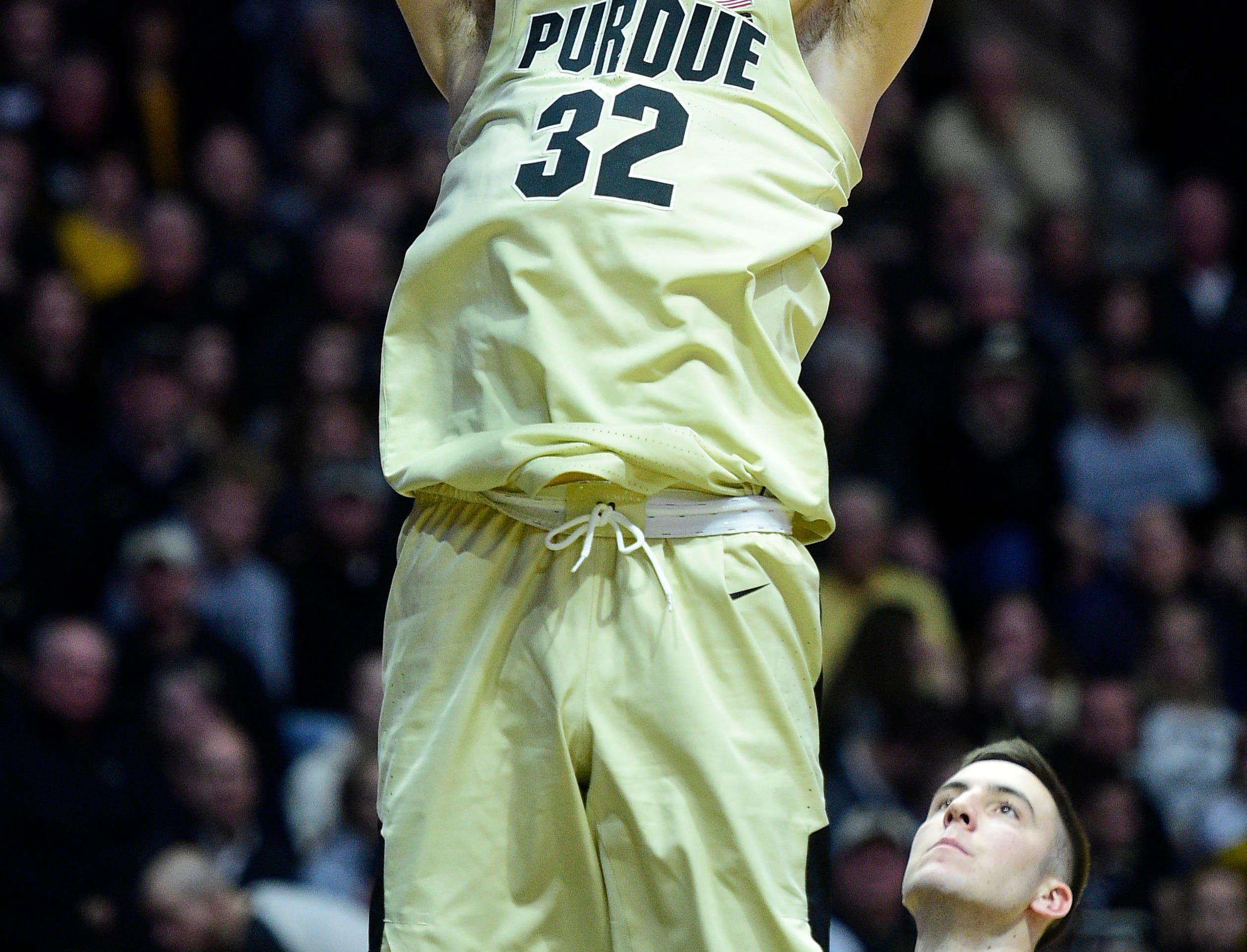 Jan 3, 2019; West Lafayette, IN, USA; Purdue Boilermakers center Matt Haarms (32) slam dunks in the second half against the Iowa Hawkeyes at Mackey Arena. Mandatory Credit: Thomas J. Russo-USA TODAY Sports
