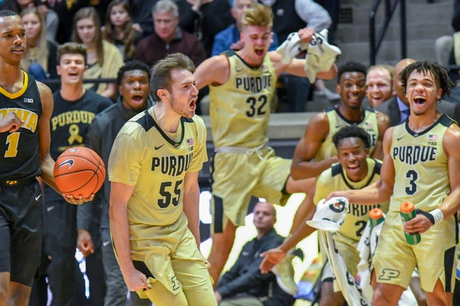 Purdue's Sasha Stefanovic reacts to drawing a charging foul  in the first half against Iowa in West Lafayette on Thursday January 3, 2019.
