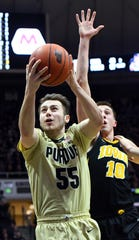 Action from Purdue's win against Iowa in West Lafayette on Thursday January 3, 2019. Purdue defeated the Hawkeyes 86-70. Sasha Stefanovic