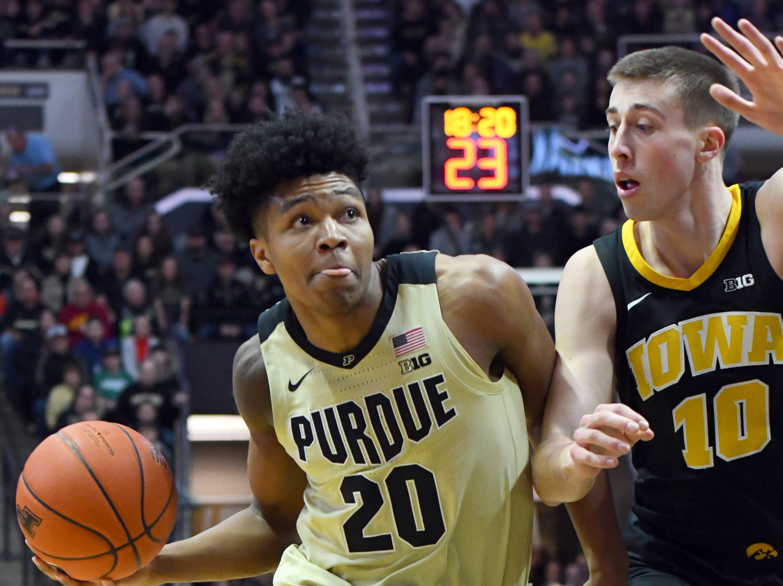 Action from Purdue's win against Iowa in West Lafayette on Thursday January 3, 2019. Purdue defeated the Hawkeyes 86-70. Nojel Eastern