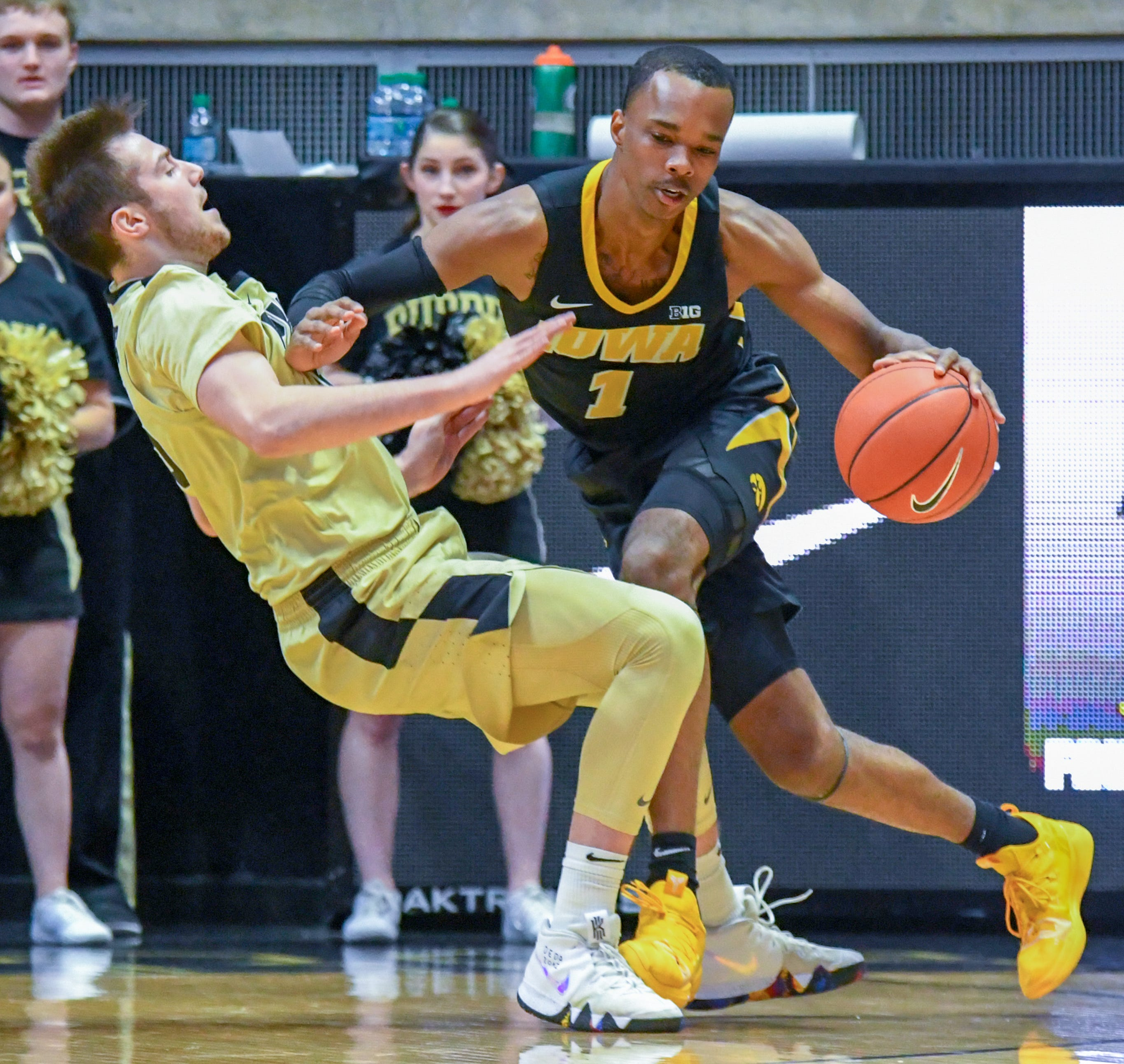 Action from Purdue's win against Iowa in West Lafayette on Thursday January 3, 2019. Purdue defeated the Hawkeyes 86-70. Iowa's Maishe Dailey