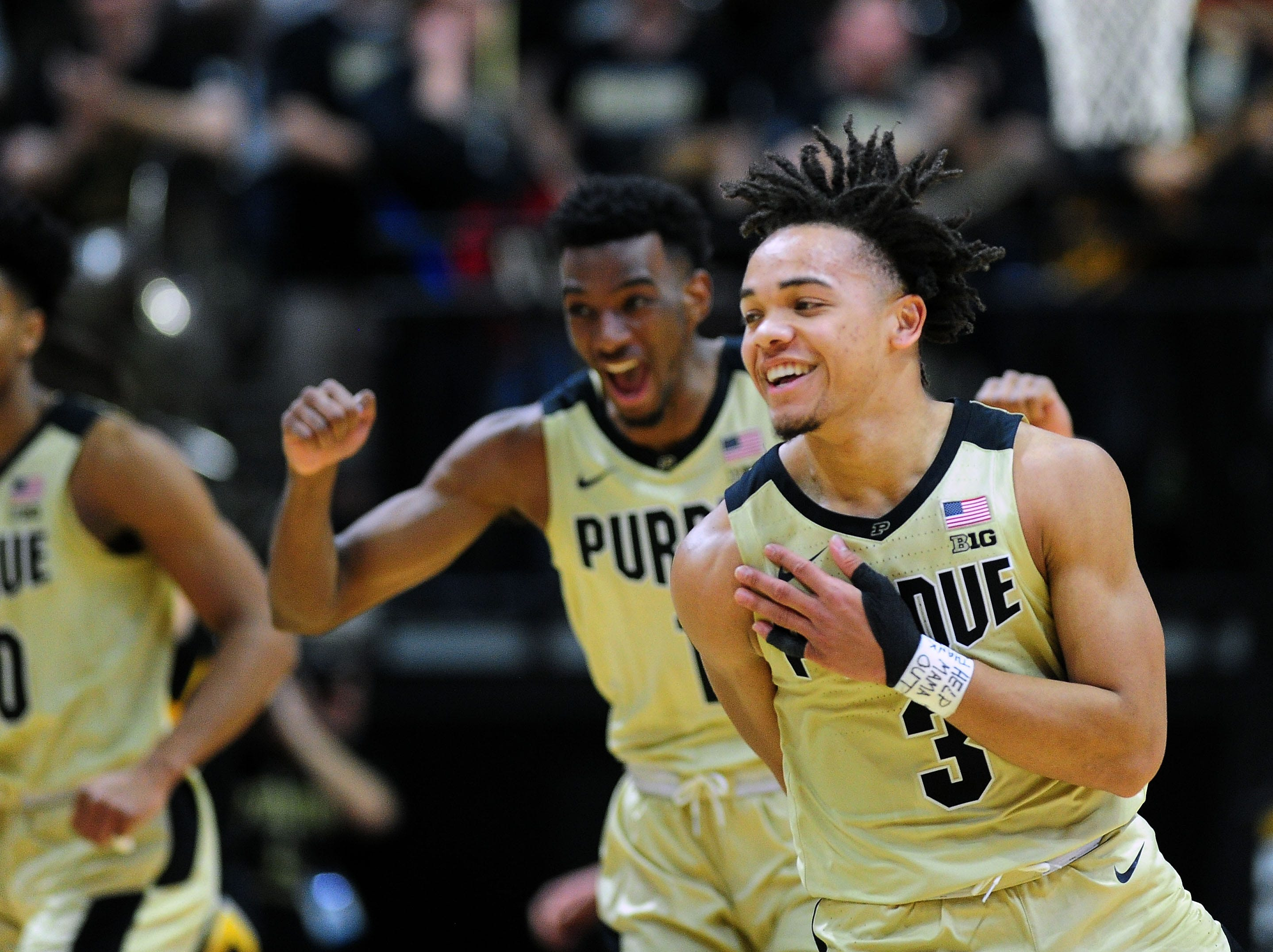 Jan 3, 2019; West Lafayette, IN, USA; Purdue Boilermakers guard Carsen Edwards (3) celebrates along with forward Aaron Wheeler (1) against the Iowa Hawkeyes in the second half at Mackey Arena. Mandatory Credit: Thomas J. Russo-USA TODAY Sports