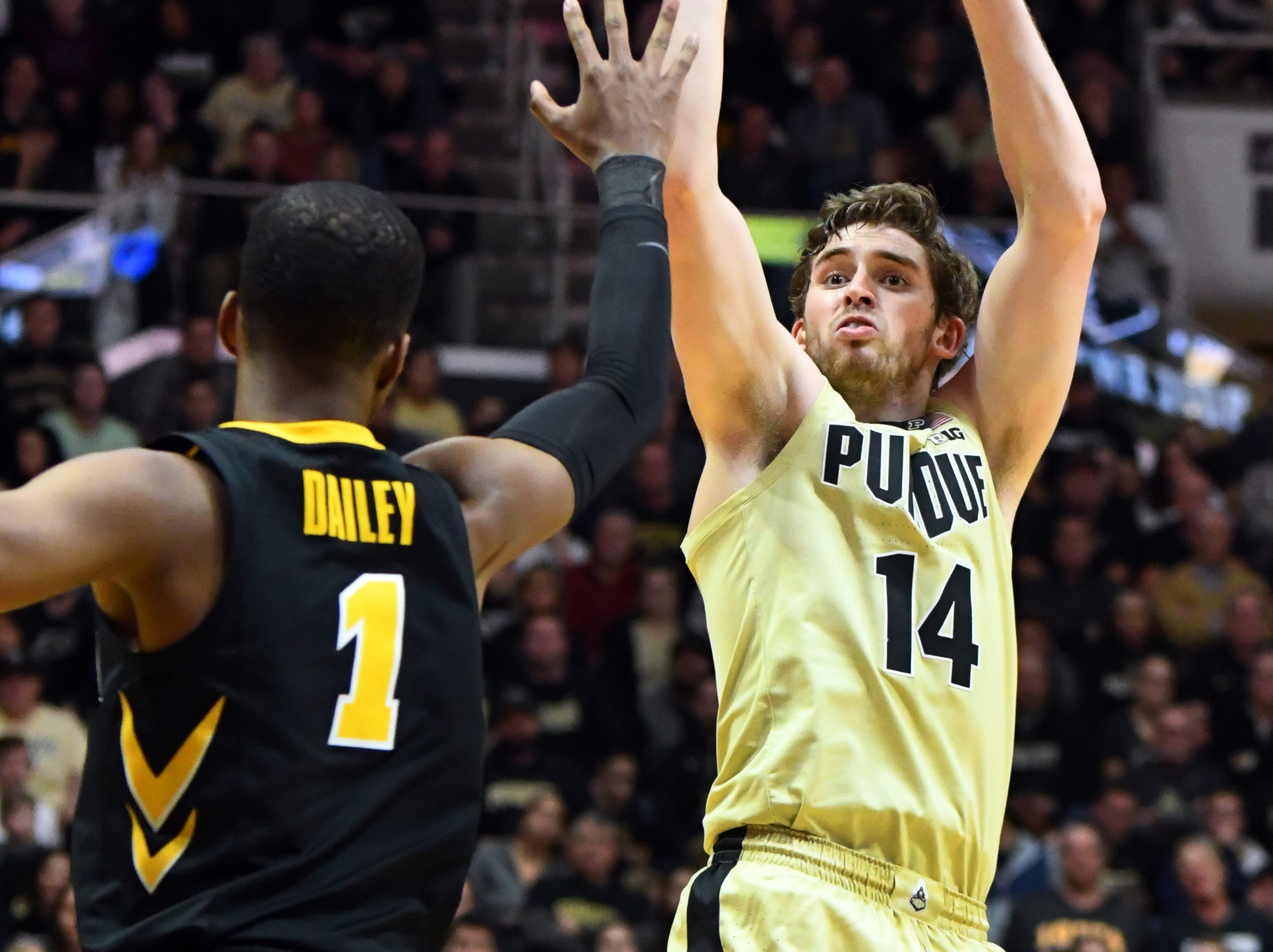 Action from Purdue's win against Iowa in West Lafayette on Thursday January 3, 2019. Purdue defeated the Hawkeyes 86-70. Ryan Cline