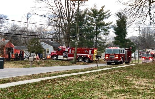 Jeffersonville Fire Department personnel respond to a house fire in the 500 block of Allison Lane on Friday, Jan. 4, 2019.