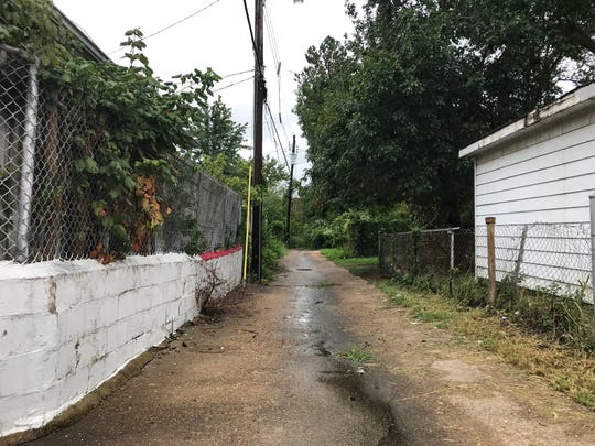 A woman told police that in 1987 a man drove her down this alley in St. Louis and raped her. This is a photo of the alley in 2018.