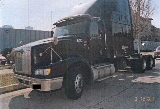 Evidence photo of the tractor trailer Calvin Kelly was driving in 2007, when Marie reported to police that she was raped.