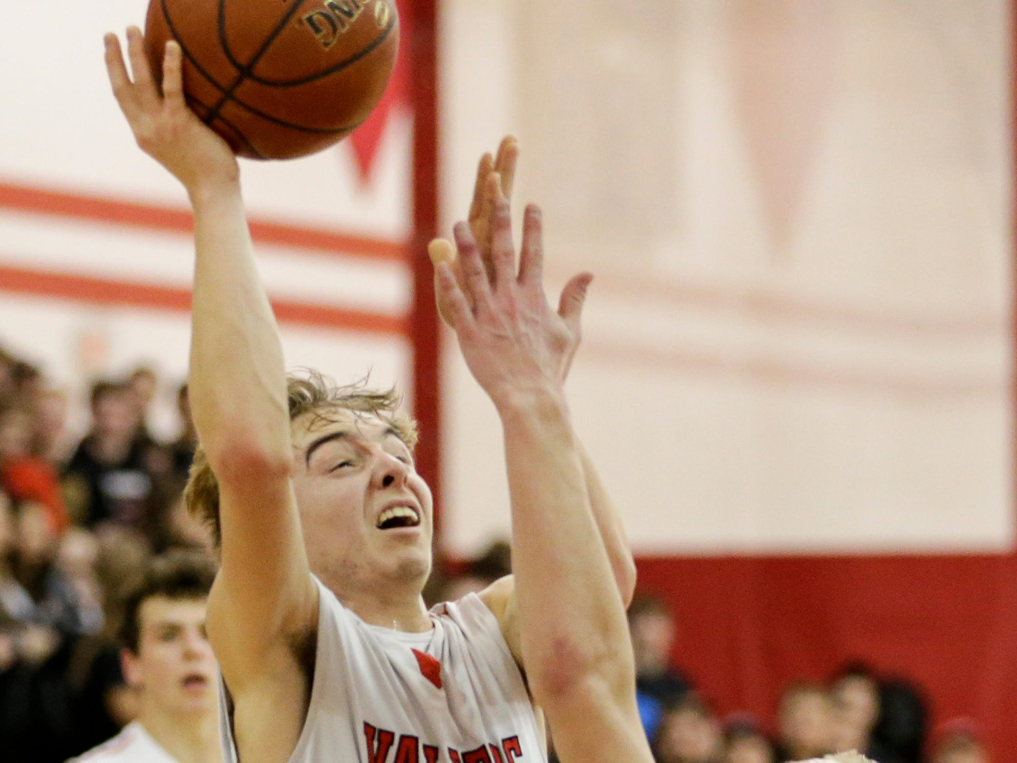 Valders' Matthew Meyers shoots against Roncalli during an Eastern Wisconsin Conference game at Valders High School Thursday, January 3, 2019, in Valders, Wis. Joshua Clark/USA TODAY NETWORK-Wisconsin