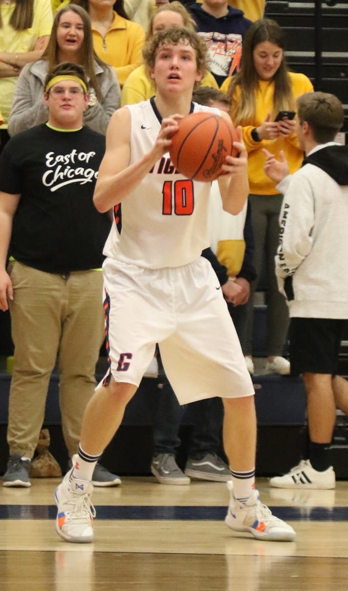 Galion's Jack McElligott attempts a shot while playing a home game against Shelby on Thursday.