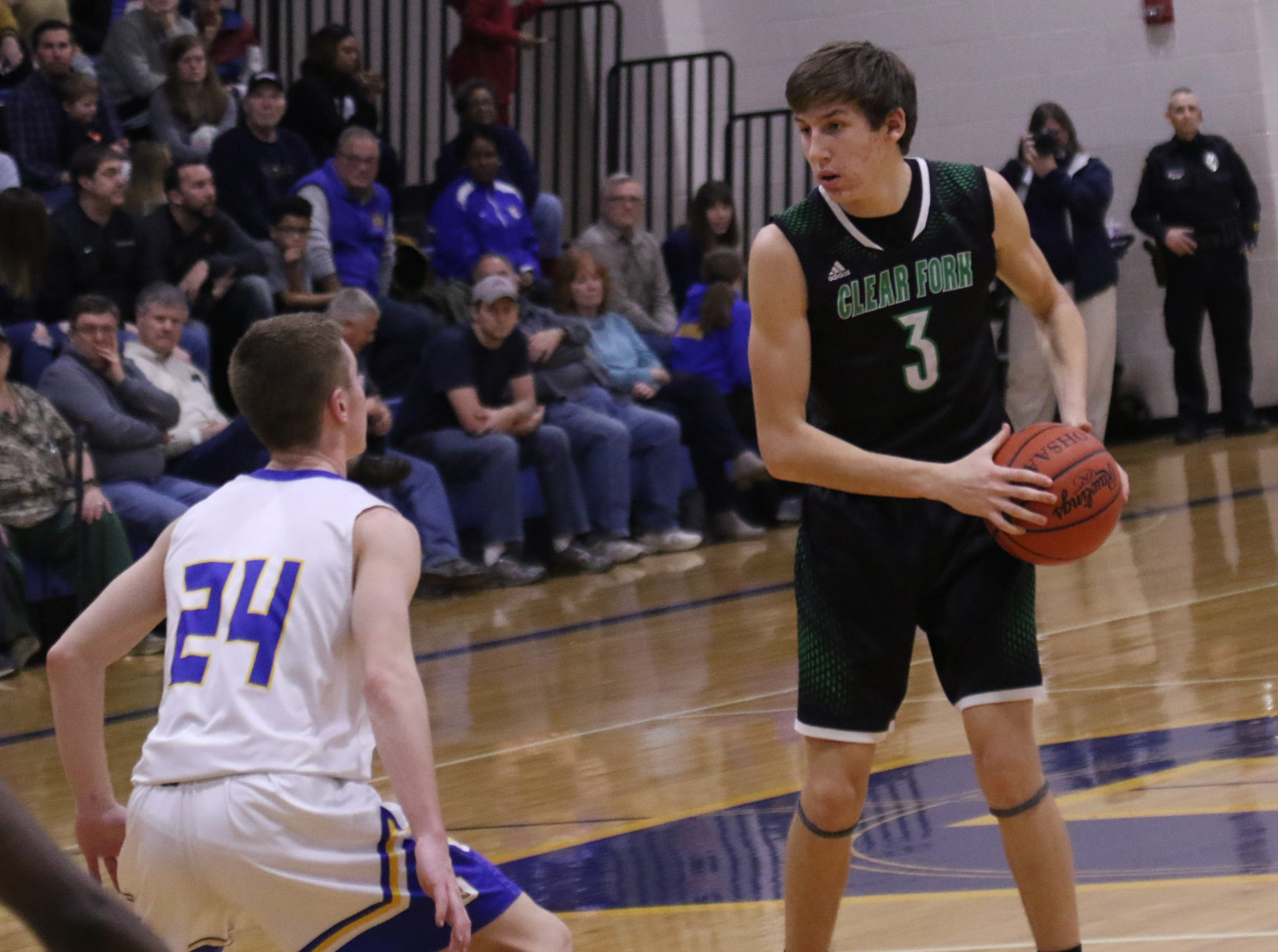 Clear Fork's AJ Blubaugh moves the ball while playing at Ontario on Thursday.