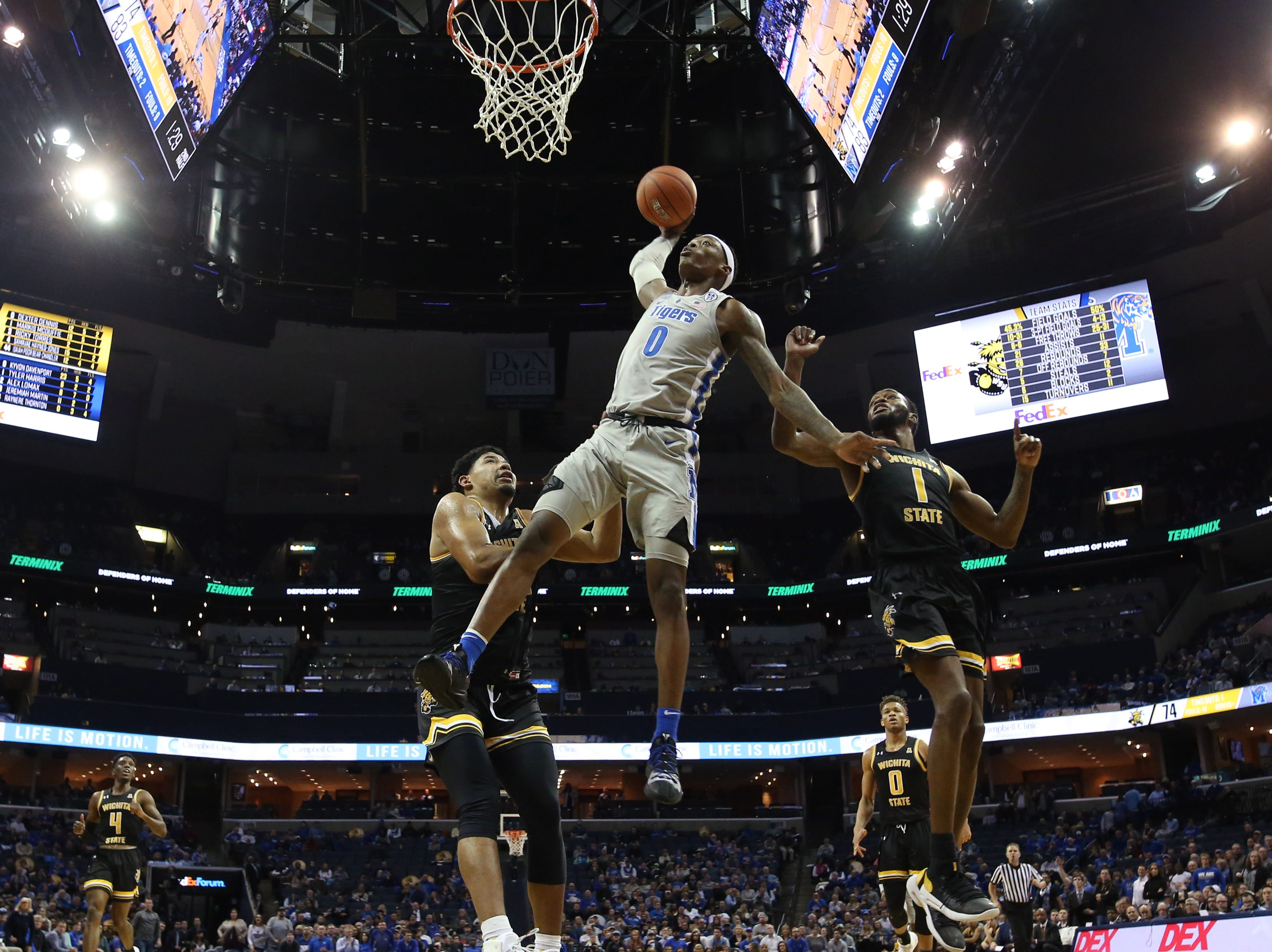 Memphis Tigers forward Kyvon Davenport dunks the ball against the Wichita State Shockers during their game at the FedExForum on Thursday, Jan. 3, 2019.